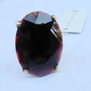 Huge Solitaire Oval Faux Garnet Ring By Trina Turk
